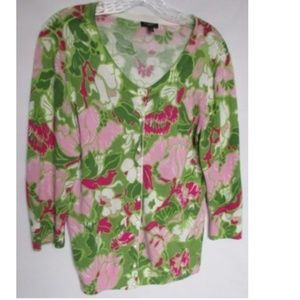 Talbots Thin Floral Cardigan Sweater Petite Medium
